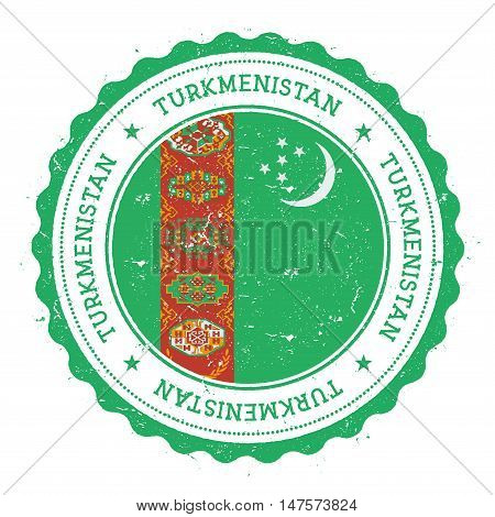 Grunge Rubber Stamp With Turkmenistan Flag. Vintage Travel Stamp With Circular Text, Stars And Natio