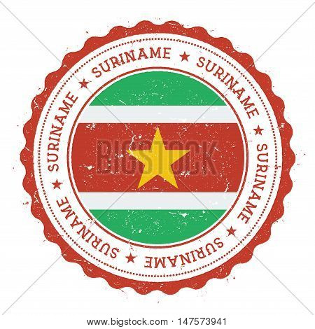 Grunge Rubber Stamp With Suriname Flag. Vintage Travel Stamp With Circular Text, Stars And National