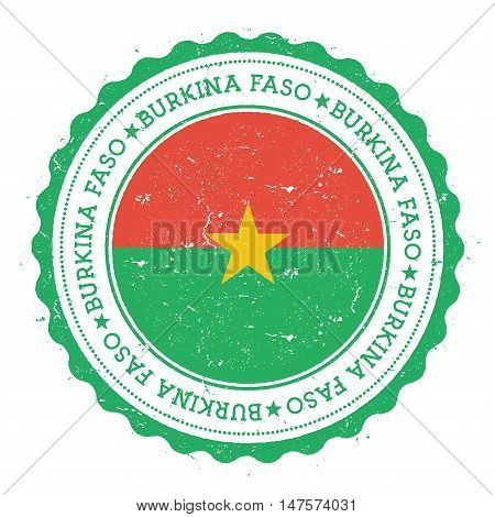 Grunge Rubber Stamp With Burkina Faso Flag. Vintage Travel Stamp With Circular Text, Stars And Natio