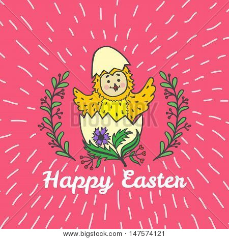 Happy Easter card with chick and egg. Vector illustration of Easter ornamental card with chick on red background.