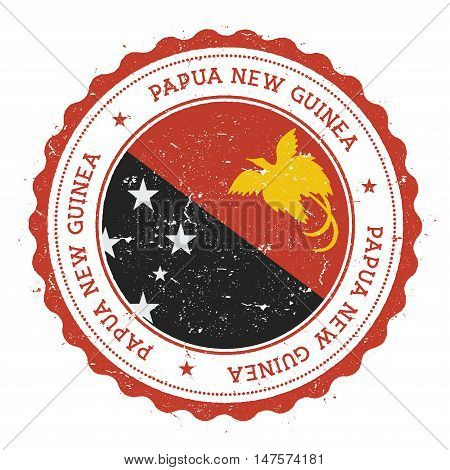Grunge Rubber Stamp With Papua New Guinea Flag. Vintage Travel Stamp With Circular Text, Stars And N