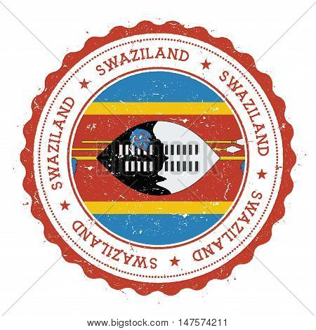 Grunge Rubber Stamp With Swaziland Flag. Vintage Travel Stamp With Circular Text, Stars And National