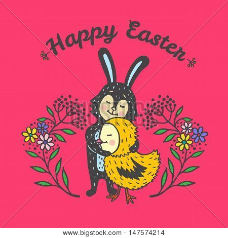 Happy Easter card with rabbit and chick. Vector illustration of Easter ornamental card with Bunny and chick on red background.