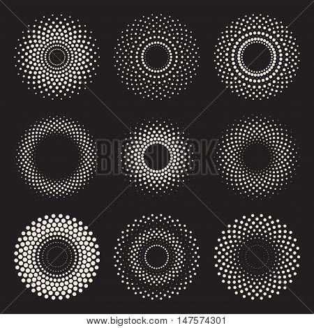 Vector Radial Gradient Halftone Sunburst Circle Shape Stippling Design Elements. Abstract Geometric Background Design