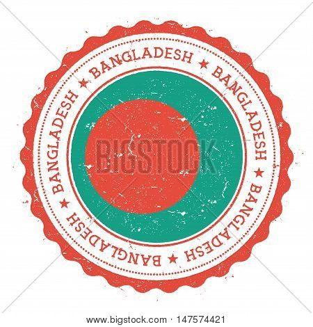 Grunge Rubber Stamp With Bangladesh Flag. Vintage Travel Stamp With Circular Text, Stars And Nationa