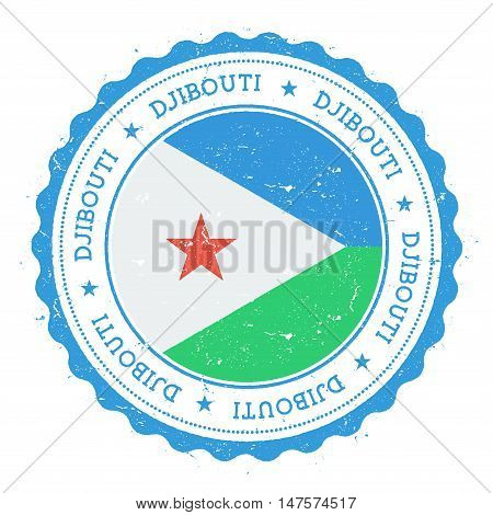 Grunge Rubber Stamp With Djibouti Flag. Vintage Travel Stamp With Circular Text, Stars And National