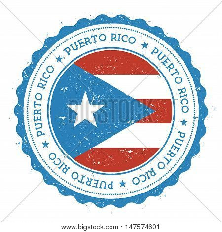 Grunge Rubber Stamp With Puerto Rico Flag. Vintage Travel Stamp With Circular Text, Stars And Nation