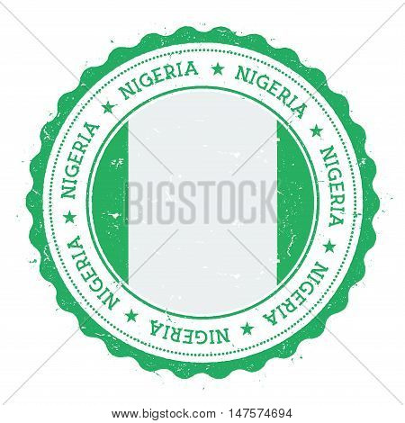 Grunge Rubber Stamp With Nigeria Flag. Vintage Travel Stamp With Circular Text, Stars And National F