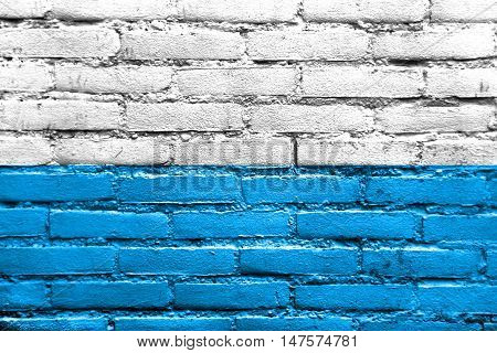 Flag Of Bavaria, Germany, Painted On Brick Wall
