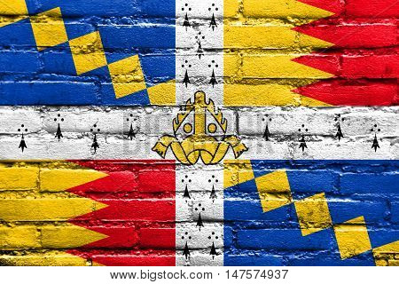 Flag Of Birmingham (the Birmingham Council Banner), England, Uk, Painted On Brick Wall