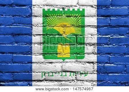 Flag Of Bnei Brak, Israel, Painted On Brick Wall