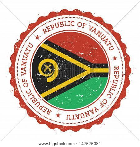 Grunge Rubber Stamp With Vanuatu Flag. Vintage Travel Stamp With Circular Text, Stars And National F