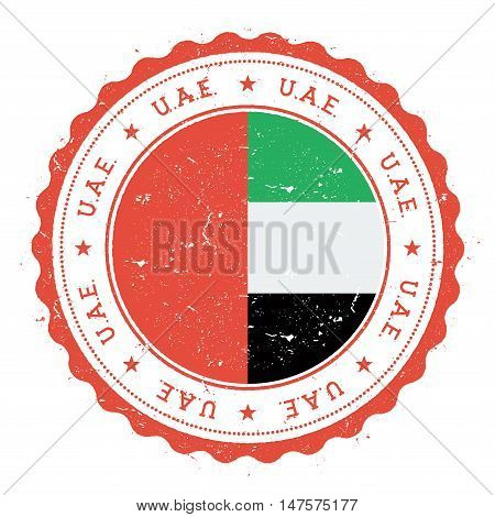 Grunge Rubber Stamp With United Arab Emirates Flag. Vintage Travel Stamp With Circular Text, Stars A