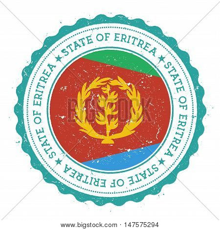 Grunge Rubber Stamp With Eritrea Flag. Vintage Travel Stamp With Circular Text, Stars And National F