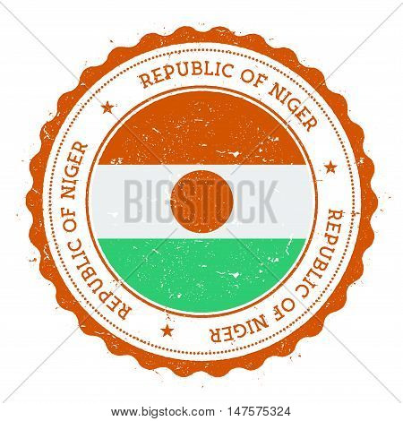 Grunge Rubber Stamp With Niger Flag. Vintage Travel Stamp With Circular Text, Stars And National Fla