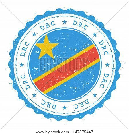 Grunge Rubber Stamp With Congo, The Democratic Republic Of The Flag. Vintage Travel Stamp With Circu