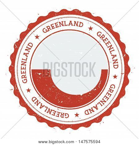 Grunge Rubber Stamp With Greenland Flag. Vintage Travel Stamp With Circular Text, Stars And National