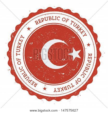 Grunge Rubber Stamp With Turkey Flag. Vintage Travel Stamp With Circular Text, Stars And National Fl
