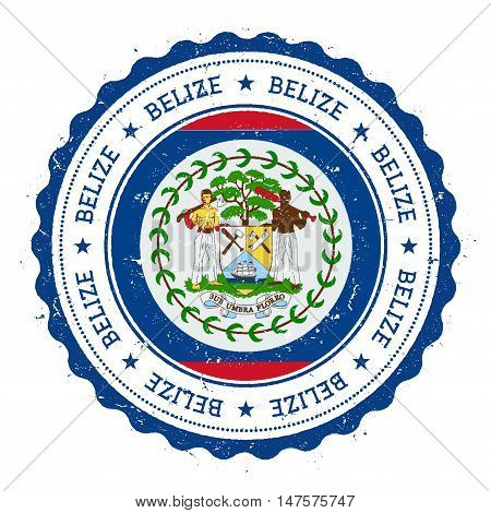 Grunge Rubber Stamp With Belize Flag. Vintage Travel Stamp With Circular Text, Stars And National Fl