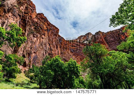Beautiful Sheer Cliffs and Colorful Rock Formations in Zion National Park Utah.