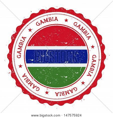 Grunge Rubber Stamp With Gambia Flag. Vintage Travel Stamp With Circular Text, Stars And National Fl