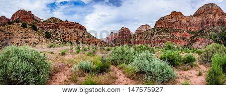 Panoramic View Of Zion National Park, Utah.