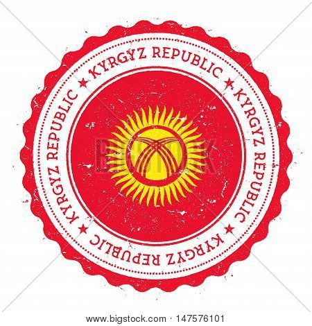 Grunge Rubber Stamp With Kyrgyzstan Flag. Vintage Travel Stamp With Circular Text, Stars And Nationa