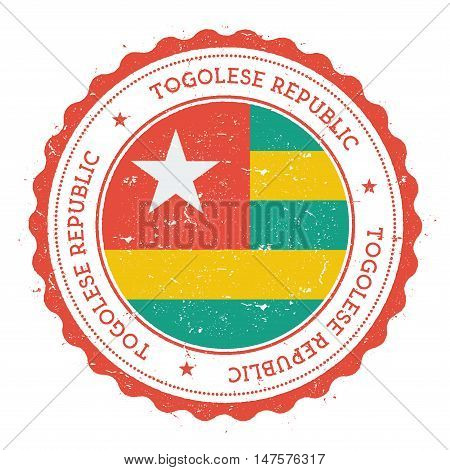 Grunge Rubber Stamp With Togo Flag. Vintage Travel Stamp With Circular Text, Stars And National Flag