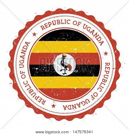 Grunge Rubber Stamp With Uganda Flag. Vintage Travel Stamp With Circular Text, Stars And National Fl