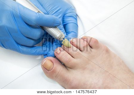 process of pedicure at beauty salon spa tool