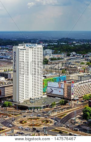 WARSAW, POLAND - MAY 3, 2016: Novotel Hotel in Warsaw managed by Accor previously operated by Orbis company under Forum brand. The property was built in 1974 as a first modern hotel in the city.