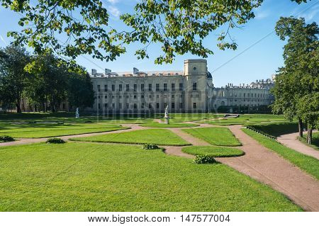 Great Gatchina Palace and park ensemble at sunlight, Saint Petersburg, Russia. Residence of Russian Emperor Paul I.