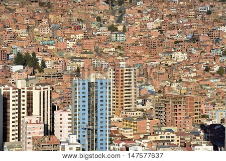 View of La Paz Bolivia. La Paz is the highest administrative capital in the world.