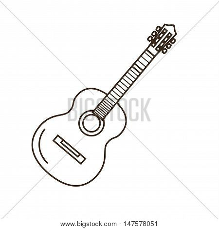 Guitar outline icon. Vector classical guitar illustration. Concept of guitar in mono line style. Guitar icon isolated. Outline guitar icon.