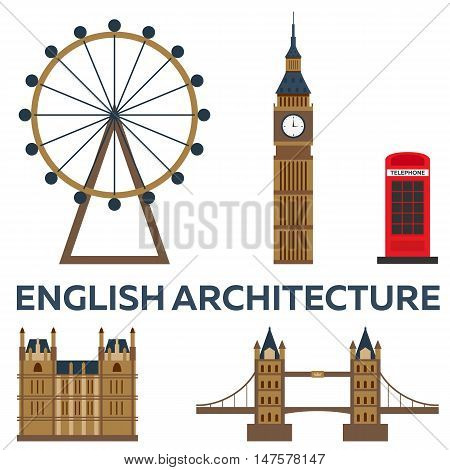 Trip to London. English architecture Vacation. Road trip. Tourism. Journey. Travelling illustration London city. Modern flat design. Big Ban. England. London skyline