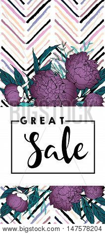 Vector flyer for great sale. Square text template. Purple peonies and chevron modern brush spot in trendy pastel colors. Use for business fashion promotion.