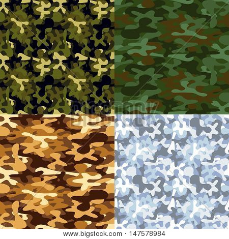Set of four military camouflage seamless patterns