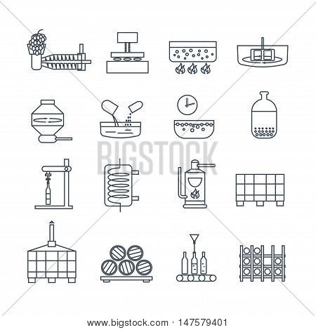 set of thin line icons wine production process