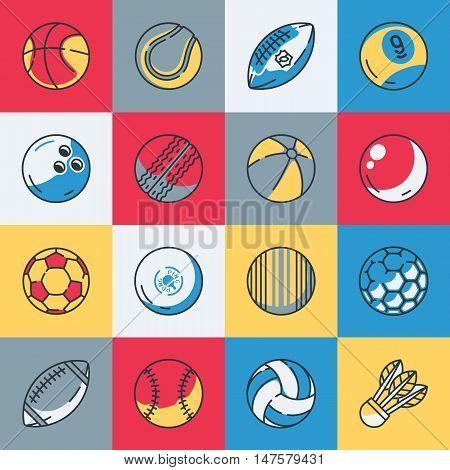 Sport balls icons set vector illustration eps9