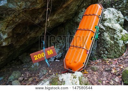 Semporna,Sabah-Sep 10,2016:A rescue stretcher at hiking trail in Bohey Dulang,Tun Sakaran Marine Park,Semporna,Sabah,Borneo.It is the most popular island for hiking & climbing activities.