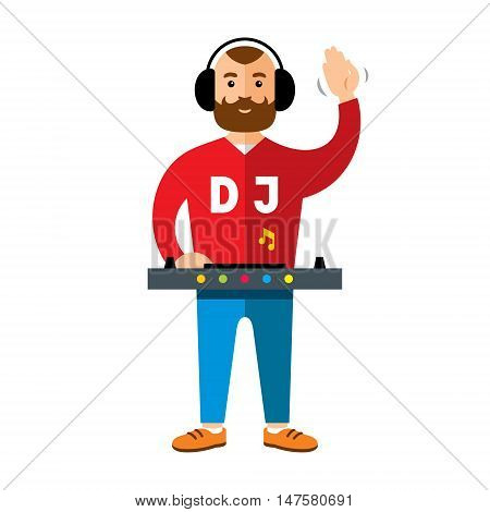 Man playing music at mixer. Isolated on a white background