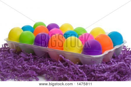 Full Carton Of Colorful Plastic Eggs