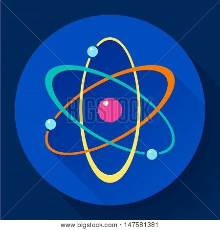 Flat atom icon in circle. Chemistry and physics symbol