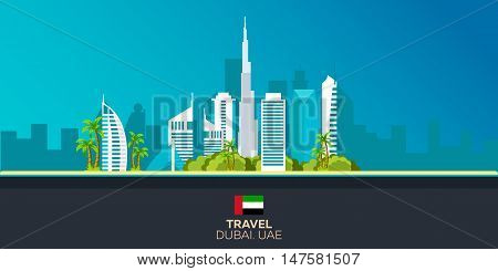 Travelling illustration Dubai city. Modern flat design. Dubai skyline. UAE. United Arab Emirates