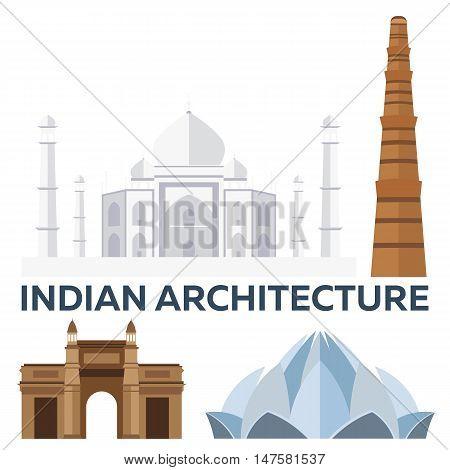 Indian Architecture. Modern flat design. Taj mahal, Lotus temple, gateway of India, Qutab Minar