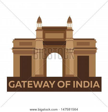 Gateway of India. Indian architecture. Mumbai. Modern flat design. Vector illustration