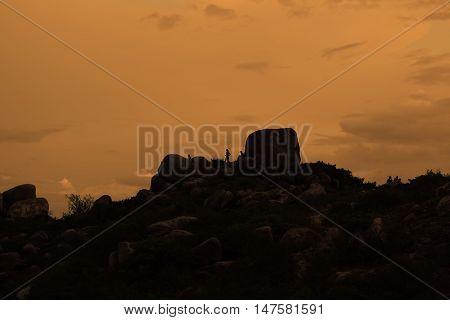 Rocks On The Sky Background