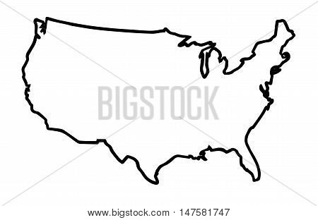A broader outline map of the United States of America over a white background