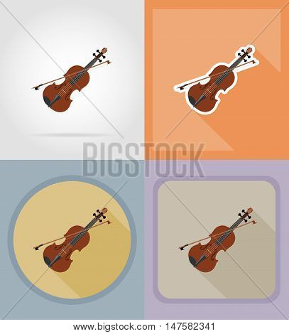 violin flat icons vector illustration isolated on background