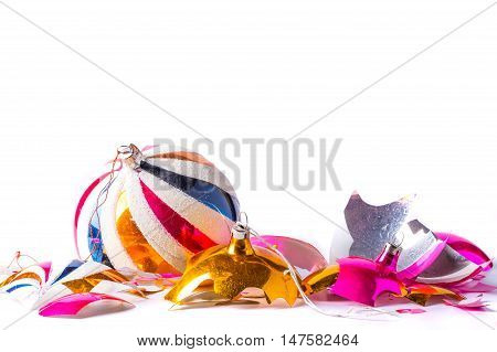 Broken Old Vintage Christmas Ball On White Backgroound